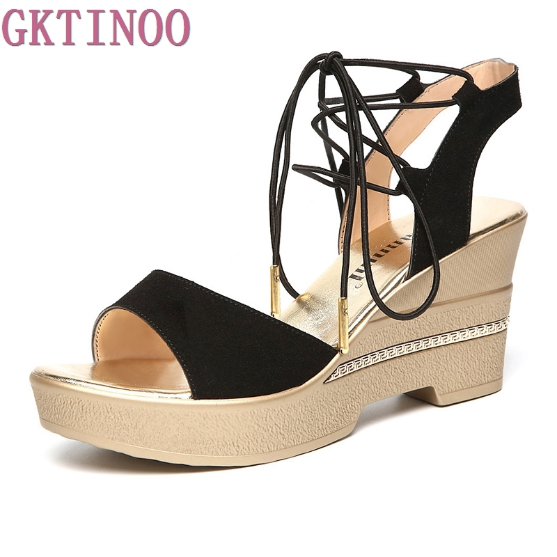 women sandals fashion Genuine Leather Cross-Strap Casual Platform sandals Solid wedges Cross-tied open toe summer shoes sgesvier fashion women sandals open toe all match sandals women summer casual buckle strap wedges heels shoes size 34 43 lp009