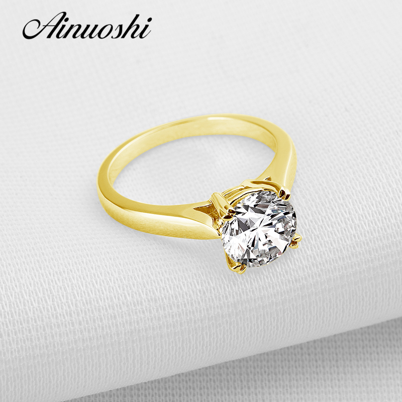 AINUOSHI 10k Solid Yellow Gold Wedding Ring Large 2 ct Round Cut SONA Simulated Diamond 4 Claws Classic Engagement Women Rings ainuoshi 10k solid yellow gold wedding ring 2 ct round cut simulated diamond anel de ouro female wedding rings for women gifts