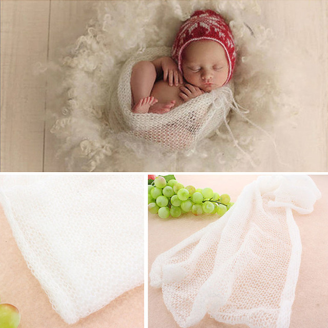 Originele Pasgeboren Baby Soft Haak Knit Mohair Wrap Doek Fotografie