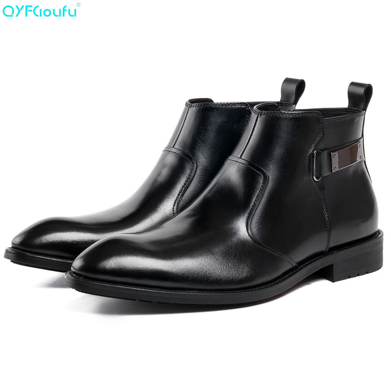 QYFCIOUFU Autumn Winter Mens Genuine Leather Mens Dress Boots Pointed Toe Zipper Ankle Boots Luxury Men Chelsea Boots ShoesQYFCIOUFU Autumn Winter Mens Genuine Leather Mens Dress Boots Pointed Toe Zipper Ankle Boots Luxury Men Chelsea Boots Shoes
