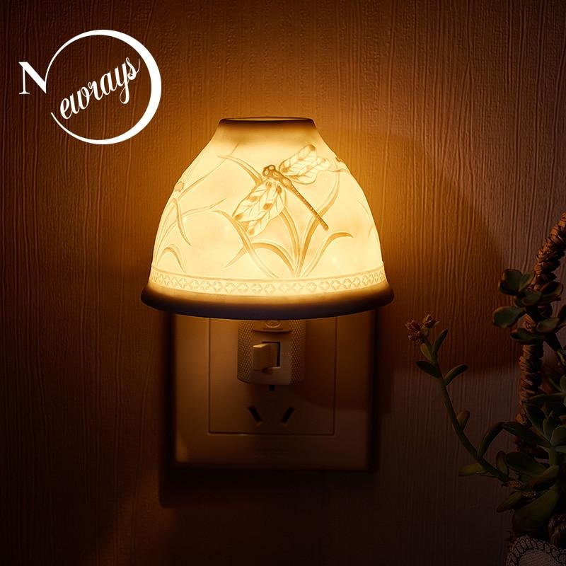 Nordic simple ceramic white LED night light home indoor EU / US plug lighting baby sleep light romantic gift fragrance lamp