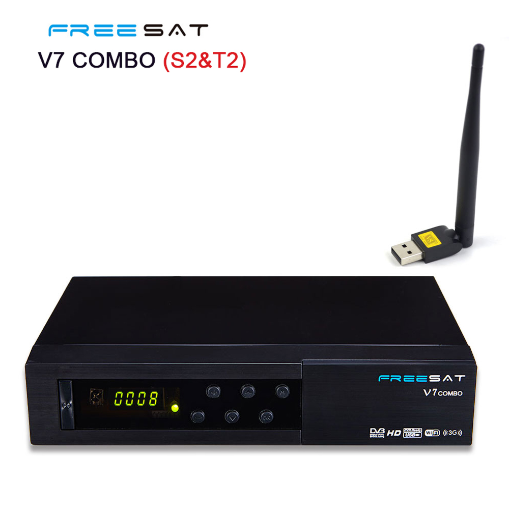 Freesat V7 combo FTA DVB-S2/DVB-T2 digital satellite receiver Satellite decoder Support USB WIFI Full powervu bisskey Freesat v7 de it es channels dvb s s2 satellite fta lines 1 year cccam clines newcamd usb wifi satellite tv receiver for free shipping