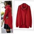 Fall Winter Women Warm Sweater Knitted Long Sleeve Irregular Hem High Neckline Kniewear Elegant Roupa Mujer Vetement LJ5751U