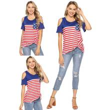 купить Women strapless T-Shirt  Star Striped Print O-Neck Short Sleeve 2019 Independence Top Female Shirt Girl Tops Casual Tees дешево