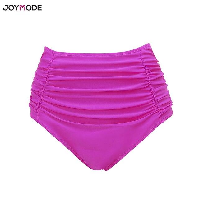 7e0d9cc2b4819 JOYMODE Women s Bikini Shorts Mid High Waist Solid Ruched Swimsuit Ruffle  Bikini Bottoms Swim Wear Bathing Suit Briefs Red Pink
