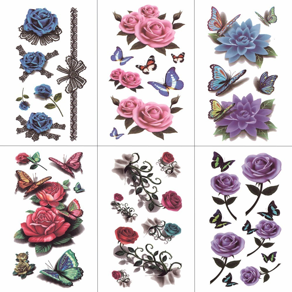 HXMAN Flower Butterfly Temporary Tattoos For Women Hand Tattoo Sticker Adult Body Art Waterproof Arm Fake Tatoo 10.5X6cm P-004