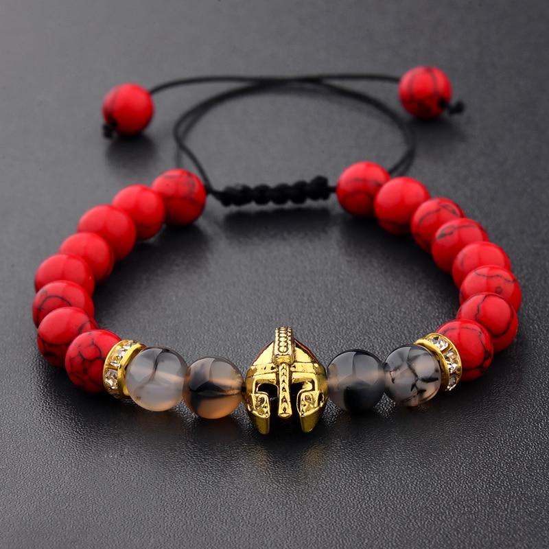 2020 Drop Shipping Roman Knight Spartan Warrior Gladiator Helmet Bracelet Men Stone Bead Bracelet Mala Yoga Elastic Bracelet