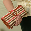 2017  long design strap buckle stripe wallet women's wallet trend vintage