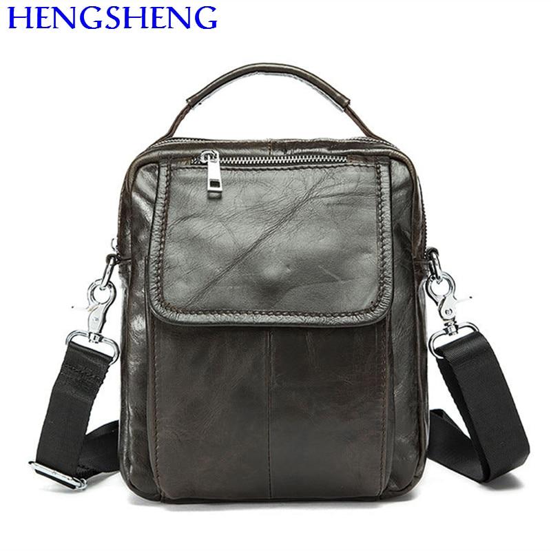 Hengsheng hot selling genuine font b leather b font men bag of coffee men shoulder bags