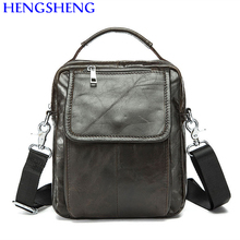 Hengsheng hot selling genuine leather men bag of coffee men shoulder bags and army green men