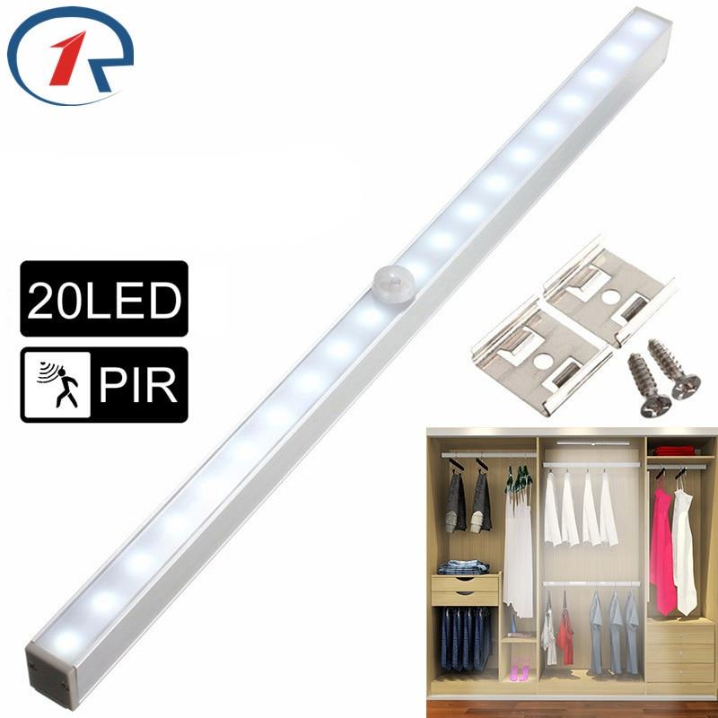 ZjRight NEW 20 LED Lights Energy saving Auto Motion Sensor Wireless PIR cabinet Kitchen bedroom Wardrobe indoor Stair wall lamps