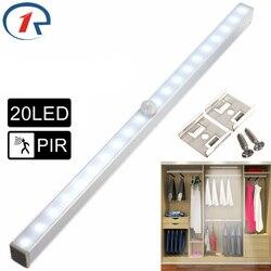 Zjright novo 20 luzes led de poupança energia sensor movimento automático sem fio pir gabinete cozinha quarto roupeiro interior da escada parede lâmpadas