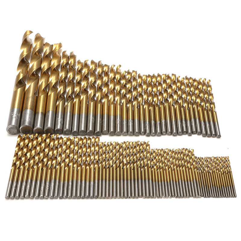 99pcs/set Titanium Coated Drill Bits High Speed Steel HSS Drill Bit Set Tool 1.5mm-10mm For Power Tools 99pcs high speed steel twist drill bits 1 5mm 10mm tool with case