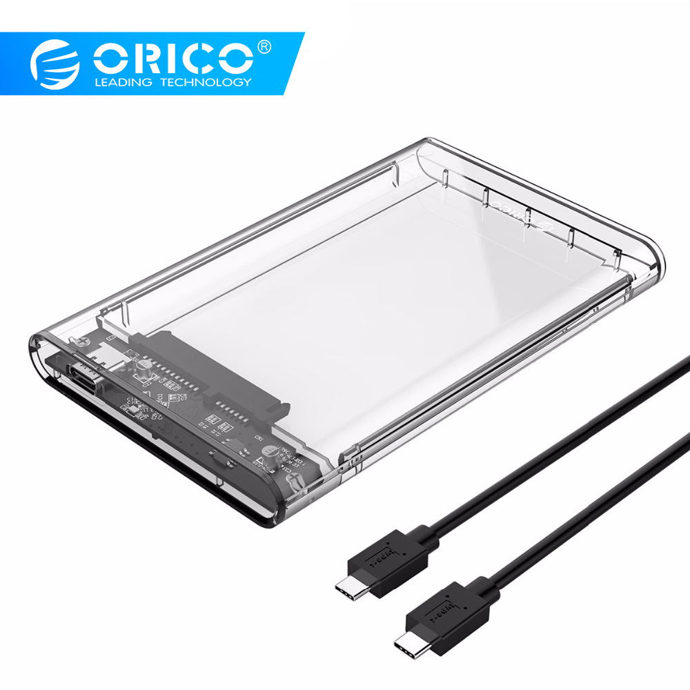 ORICO USB C HDD Case NEW 10 Gpbs USB3.1 Gen2 Hard Drive Enclosure Transparent HDD Box For 2.5 Inch HDD SSD With USB C To C Cable