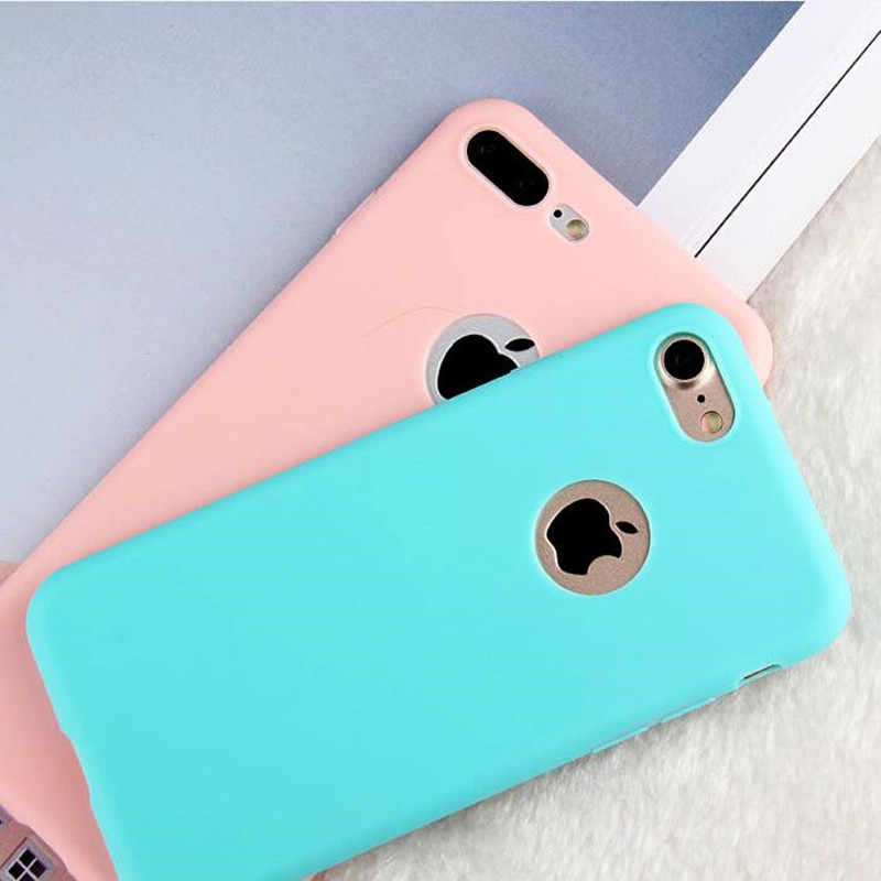 Untuk Fundas iPhone X Max XR Case Cover Apple Iphone 6 6S 7 8 PLUS 5 5S SE permen Warna Lembut Silikon TPU Case untuk iPhone 7 Topias