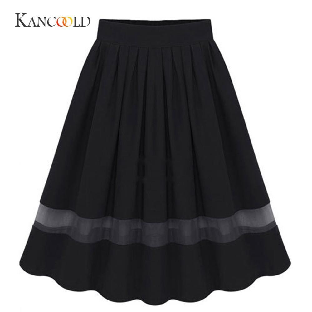 KANCOOLD women's Skirts girl Women Girl sexy Skirts Stretch High Waist Skirt Plain Flared Pleated Long Maxi Skirt  FJA28