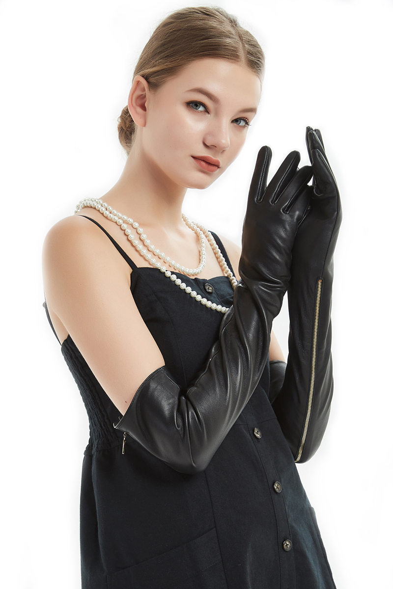 60 см (23,6 ) длинные открытые длинные кожаные длинные оперные перчатки черного цвета на молнии - 5