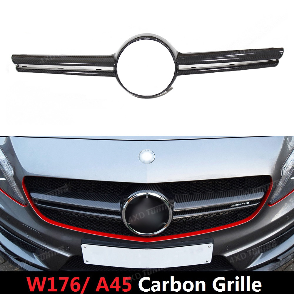 For Mercedes A Class W176 A45 AMG Carbon Front Grille Front Bumper trim A45 Carbon Fiber Front Grille cover 2012 2013 2014 2015 mercedes w176 carbon fiber rear bumper canards for benz a class a45 amg package 2012 rear air dam trimming