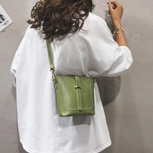 2019 New Green Pu Leather Crossbody Bag Fashion Large Capacity Bucket Single Shoulder Bag Retro Ladies HandBags Messenger Bag стоимость