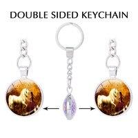 Pegasus Stars Unicorn Double Sided Pendant Keychain For Keys Fantasy Jewelry Unicorns Photo Charm Key Holder