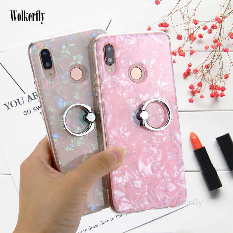 Colorful Conch Shell Phone Case For Huawei P30 Pro P20 Lite Nova 4 3i P Smart Y9 Y7 Pro 2019 Honor 8X 9 Lite V20 Cover with Ring