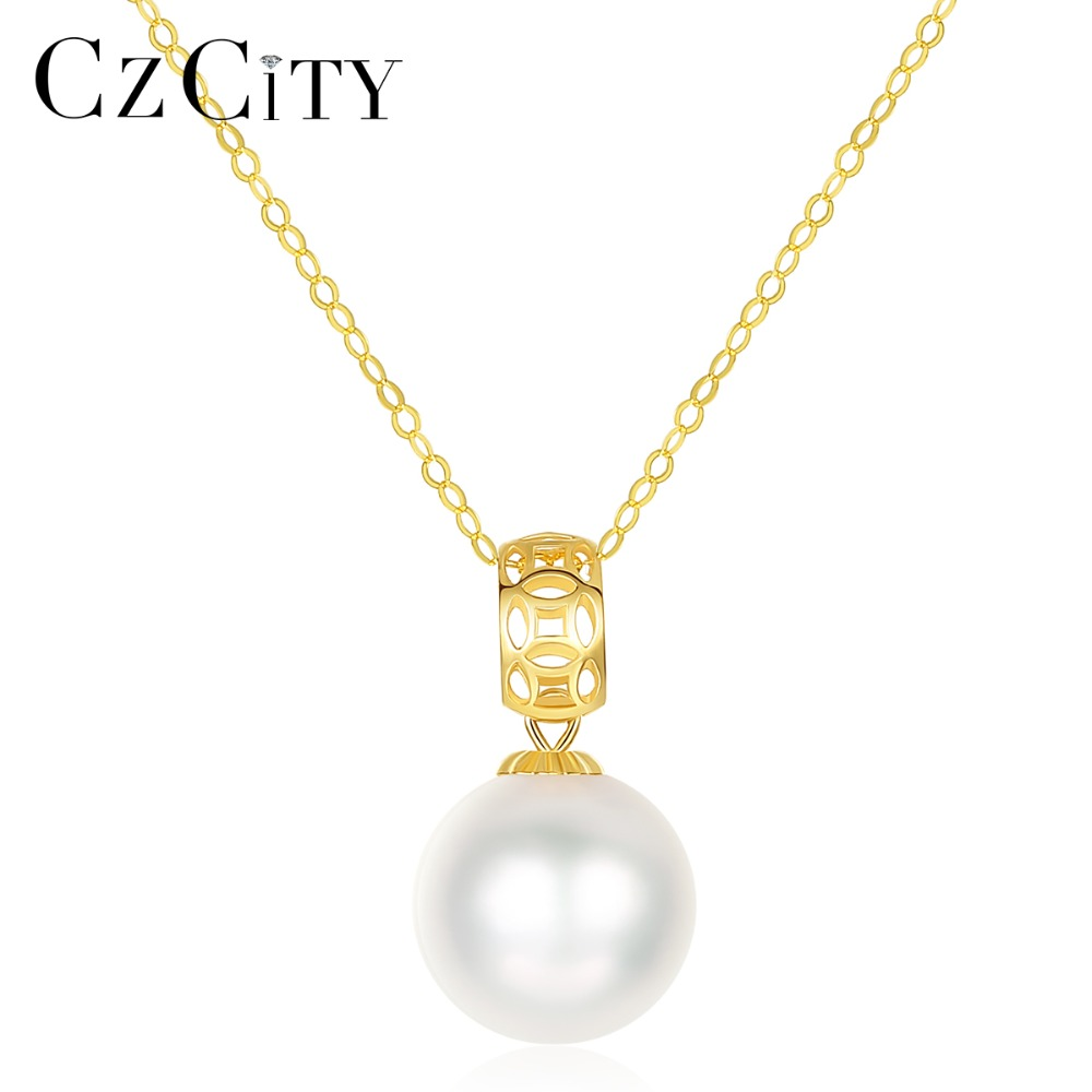CZCITY Exquisite 18K Yellow Gold Hollow Circle Round Ball Japan Akoya Pearls Pendant Necklace for Women Wedding Necklace JewelryCZCITY Exquisite 18K Yellow Gold Hollow Circle Round Ball Japan Akoya Pearls Pendant Necklace for Women Wedding Necklace Jewelry
