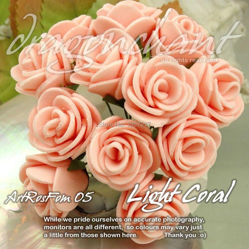 Wholesale Size 20mm Head Solid Light Coral Color Pe Rose Foam Flower