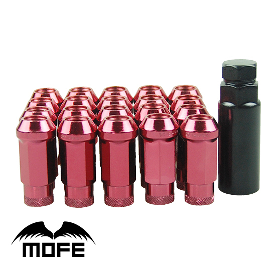 20 pcs/set  SR48mm Steel Wheels Rims Lug Nuts M12*1.25  Extended Open End Wheel Lock Lug Nuts Red