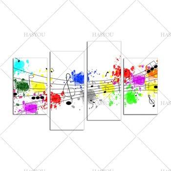 Красивая картина маслом для домашнего декора абстрактная 4 шт. музыкальная Настенная картина ручная работа музыкальная абстрактная картин