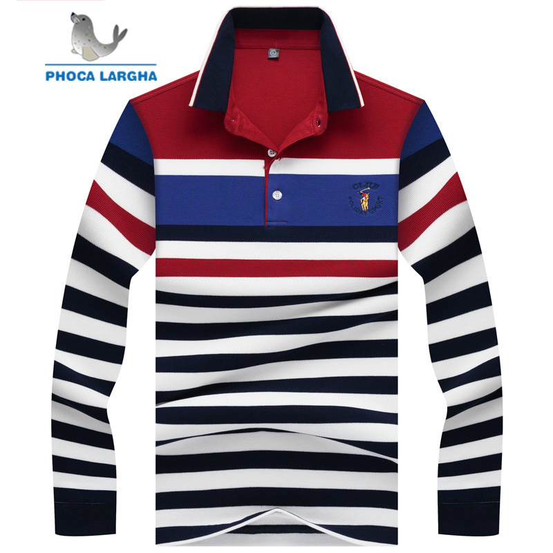 Men's full sleeves   polo   shirt Classic Embroidery horse cotton   polo   Shirts Slim Fit Golf striped para hombre business Tee shirts