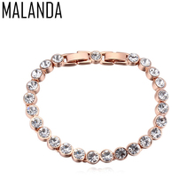 MALANDA Brand 2017 Hot Fashion Real Round Crystal From Swarovski Gold Color Zircon Bracelets Bangles For Women Wedding Jewelry(China)