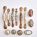 Красота 2 шт Европейский Элегантный Керамический кухонный шкаф дверные ручки шкаф ящик Винный Шкаф Тянет ручки и ручки