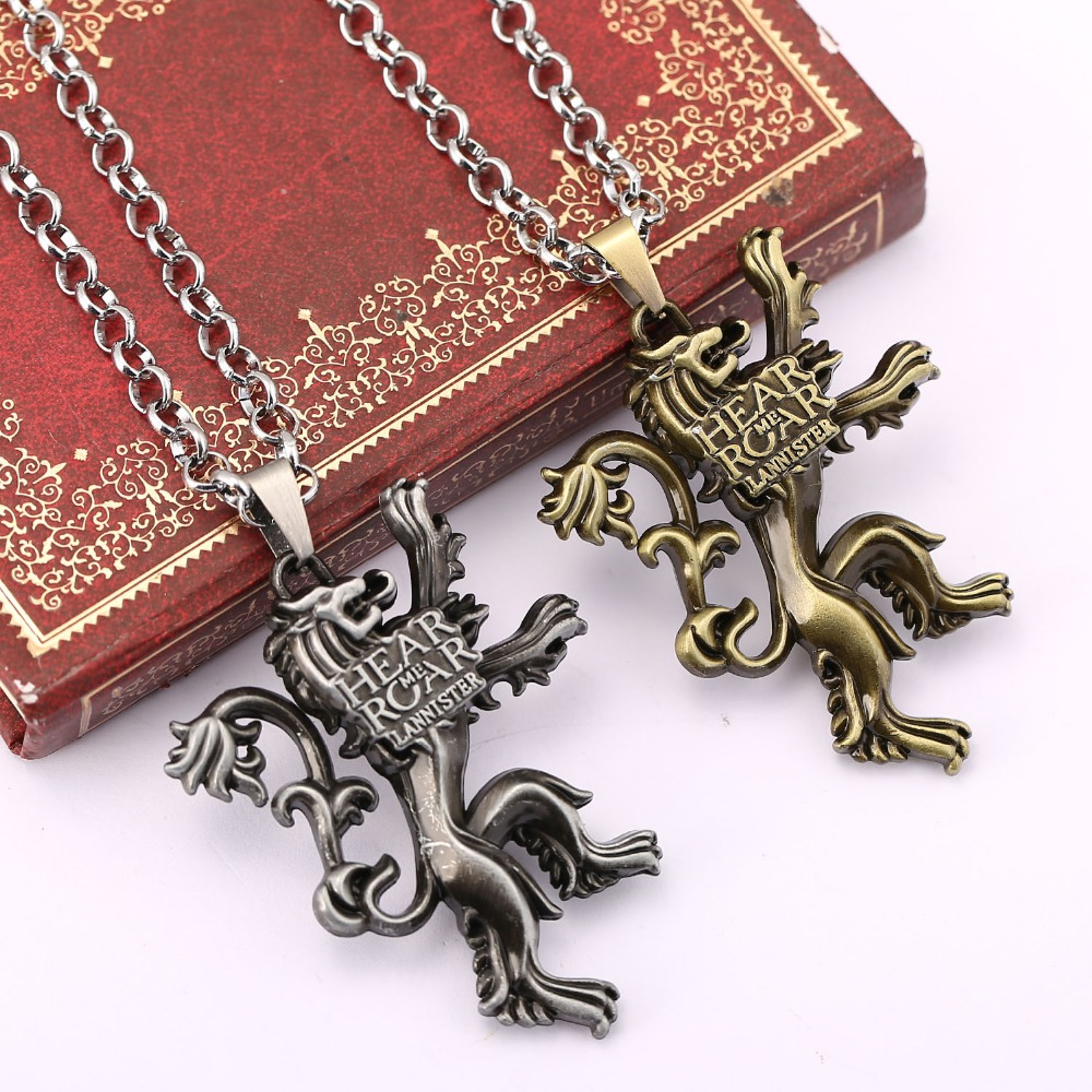 The song of ice and fire Game of Thrones Vintage Jewelry House Lannister of Casterly Rock pendant necklace Collare Necklaces