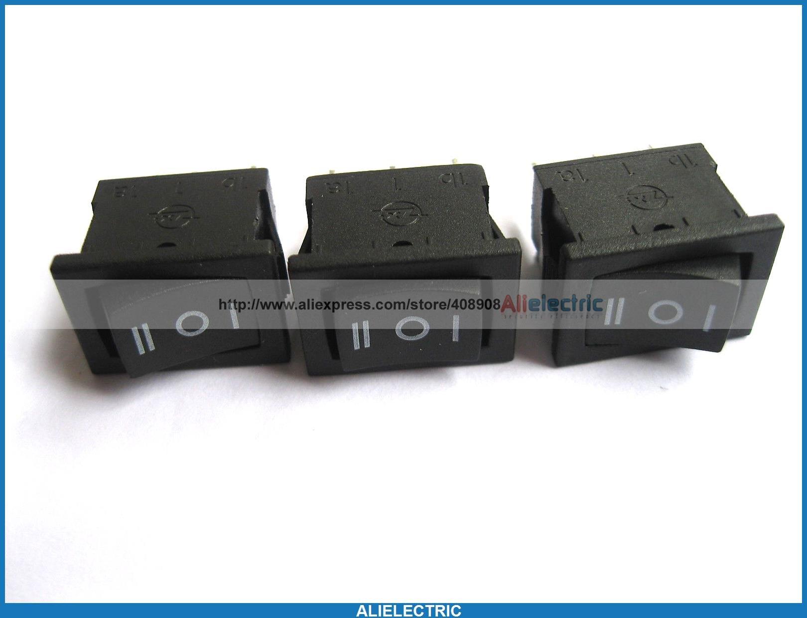 80 pièces Interrupteur À Bascule KCD1 dessus sur L'inverseur Noir 3pin 6A 10A