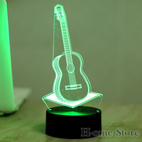 7 Color Guitar 3D Visual Led Night Lights For Kids Touch USB Table Lampara Lampe Baby