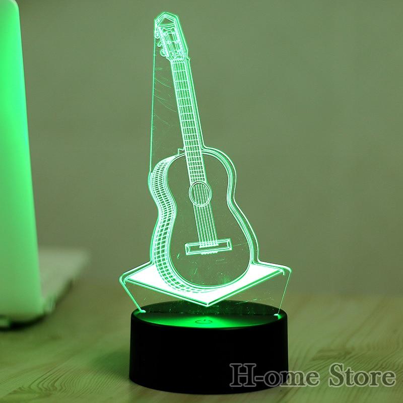 7 цветов Гитары 3D визуальный индикатор Ночные светильники для детей сенсорный USB Таблица Lampara лампе для сна Ночная