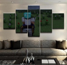 HD Print Canvas Printed Game Poster Painting Minecraft Modern 5 Pieces Wall Art Living Room