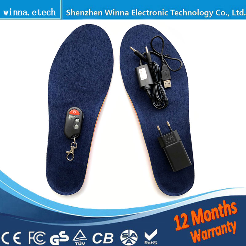 NEW USB Heated insoles with wireless Winter thick insole Wool with fur keep feet warm and comfortable for men women shoes 2000MA