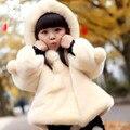 Дети Девушки Зимние Пальто Новый 2016 Мода Марка Толстая Искусственного Меха Теплая Куртка Младенца Твердые Повседневная Капюшоном Детская Одежда Outwears