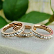 Bilincolor розовое золото Титан Кристалл Пара Любовь кольцо