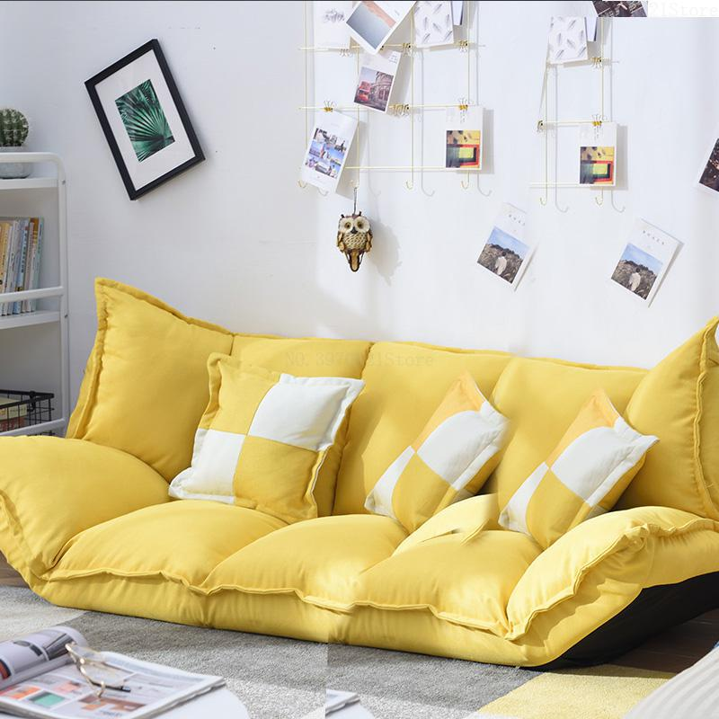 Linen Fabric Upholstery Adjustable Floor Sofa Bed Lounge