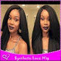 Color 1b# Off Black&Black 2016 Hot Selling Kinky Straight Synthetic Lace Front Wig Long Straight Heat Resistant For Black Women