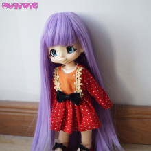 цены MUZIWIG Synthetic Soft Purple Long Straight Cute doll wig hair with full bangs for bjd 1/3 1/4 1/6 1/8 SD dolls wigs accessories