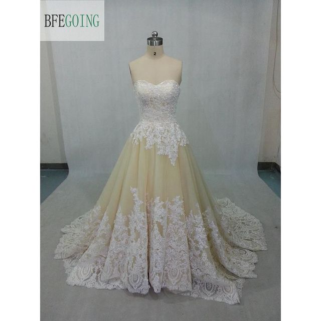 Us 15009 21 Offchampagne Tulle White Lace A Line Wedding Dress Chapel Kereta Sayang Lace Up Bridal Gowns Nyataasli Foto Di Wedding Dresses Dari