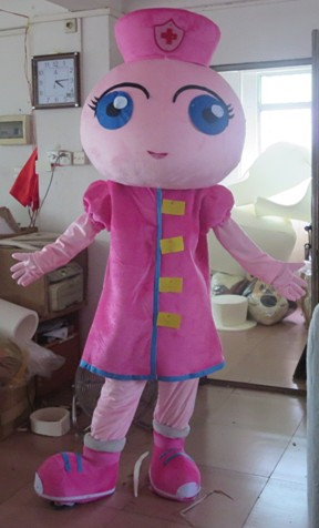 High quality Wholesale new pink long hair Nurse girl Fancy Dress cosplay Mascot Costume animal adult foam costumes free shipping