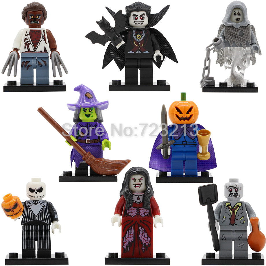 Halloween Single Figure Skeleton Jack Witch Zombie Ghosts Pumpkin Man Werewolf Vampire Count Queen Building Blocks PG8080(China)