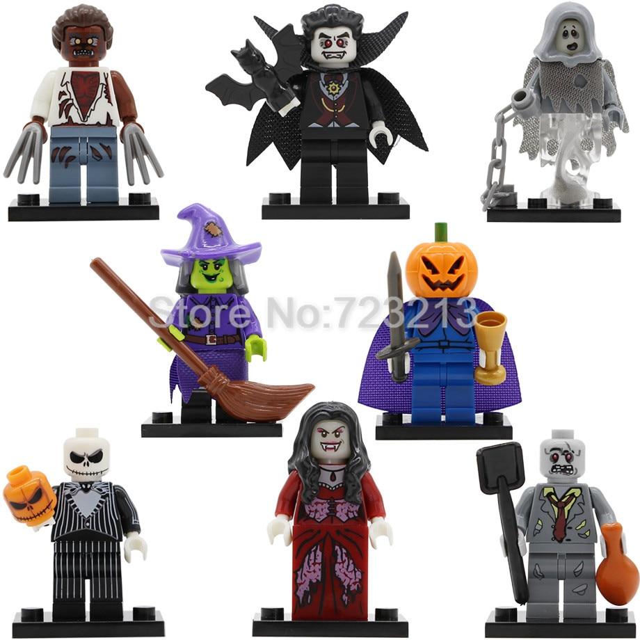 Halloween Single Figure Skeleton Jack Witch Zombie Ghosts Pumpkin Man Werewolf Vampire Count Queen Building Blocks PG8080(China)
