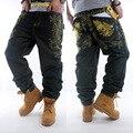 2016 Novos Designers Dos Homens Hetero Denim Jeans Baggy Hip Hop Americano solto Fit Street Wear Marca Famosa Calça Jeans Tamanho Grande 42