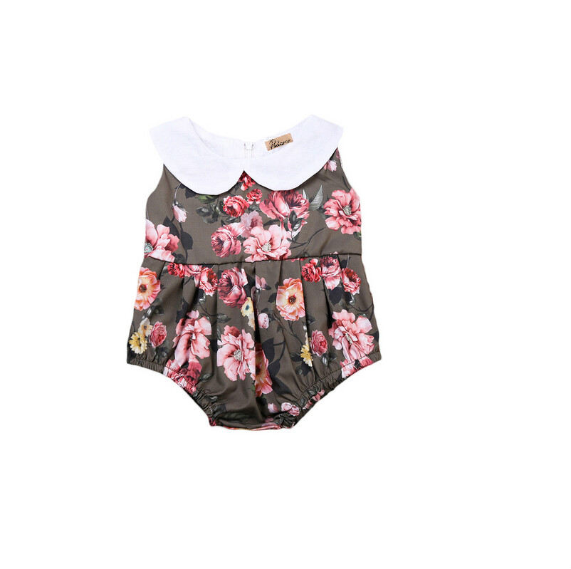 Ruffles Floral print Rompers One Piece Infant Kids Baby Girl Cotton Sleeveless Romper Jumpsuit Rompers Sunsuit Clothes Outfits