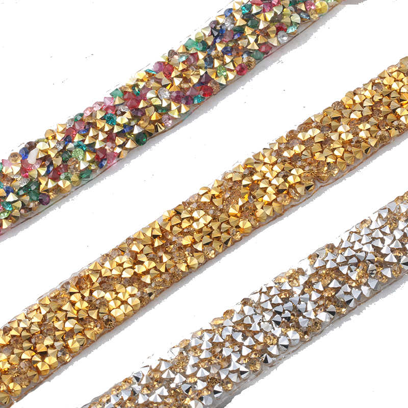 5 Yards lot 15mm width lace rhinestone Hotfix Chain Trim Wedding Crystal  Appliques Resin Beads 52f0190d3894